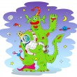 Green Alien monster - Stock Vector