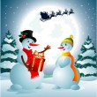 Snowman holding a present from Santa Claus — Stock Vector