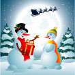 Snowman holding a present from Santa Claus - Stock Vector
