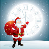 Santa Claus pointing to a clock face on the moon — Stock Vector