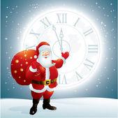 Santa claus wijzen op een wijzerplaat op de maan — Stockvector