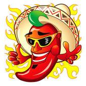 Illustration of  cartoon red hot peper — Stock Vector