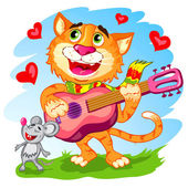 Illustration of the funny singing cat with guitar — Stock Vector