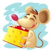 Cartoon mouse holding a wedge of cheese — Stock Vector