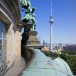 The TV tower seen from the Berliner Dom. - Stock Photo