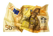 Crumpled 50 Euro banknote — Stock Photo