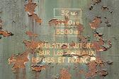 Metal enferrujado e pintura descascada — Fotografia Stock