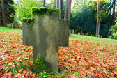 Grave headstone in fall — Stock Photo