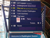 Information board at Paddington train station in London — Stock Photo