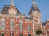 Exterior of main train station in Amsterdam — Stock Photo