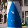 Stock Photo: Advertising column in city of Amsterdam during inauguration