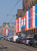 Buildings in the city of Amsterdam have been decorated during th — Stock Photo