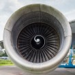 Stock Photo: Engine of jumbo jet