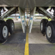 Stock Photo: Undercarriage of jumbo jet