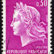 Stock Photo: Marianne on French postage stamp ca. 1969