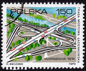 Polish stamp showing a cloverleaf interchange — Stock Photo