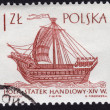 Stock Photo: Stamp showing ancient hulk ship