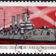 Stamp showing Russian cruiser Aurora — Stock Photo
