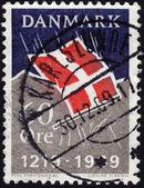 Postage stamp showing Danish flag — Stock Photo