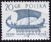 Stamp showing ancient galley ship — Stock Photo