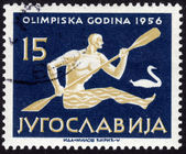 Stamp showing rowing sportsman — Stock Photo