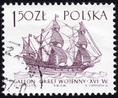 Stamp showing galleon sailing ship — Stock Photo