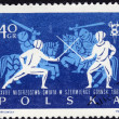 Postage stamp showing fencing and jousting — Stock Photo