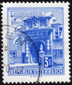Postage stamp showing the Swiss Gate in Vienna, Austria — Stock Photo
