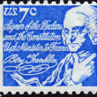 Postage stamp showing showing Benjamin Franklin co-signer of the — Stock Photo
