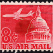 United States postage stamp used for airmail deliveries overseas — Stock Photo #40025257