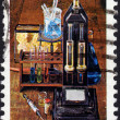 Postage stamp showing laboratory equipment to create substan — Stock Photo #40230293