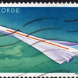 Stock Photo: Postage stamp showing Concorde turbojet airliner