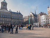 Royal Palace and New Church in Amsterdam — Stock Photo