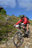 Motociclista de montanha, equitação embora área de montanha Suíça — Fotografia Stock