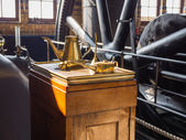 Oil can used in a machine room of pumping station — Stock Photo
