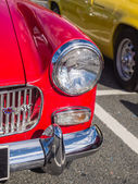 Headlight of vintage classic cars taking part in a trail run in  — Stok fotoğraf