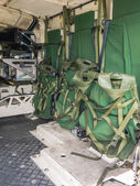 Inside the rear of a Dutch military vehicle — Stock Photo