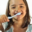 Little Hispanic Girl Brushing — Stock Photo
