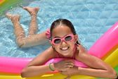 Little Hispanic Girl in Swimming Pool — Foto de Stock