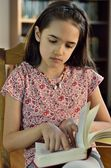 Little Hispanic Girl Reading — Stock Photo
