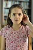 Little Girl Looks Confused — Stock Photo