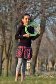 Little Girl with Frisbee — Foto de Stock
