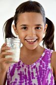 Little Girl with Milk Mustache — Stock Photo