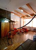 Dřevo jako domácí moderní interiér — Stock fotografie