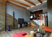 Wood like home Modern interior — Stock Photo