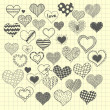 Sketchy hearts — Stock Vector