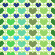 Seamless pattern with green and blue hearts — Stock Vector