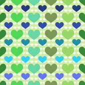 Patrones sin fisuras con el corazón verde y azul — Vector de stock