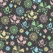 Seamless floral pattern drawn in chalk — Stock Vector