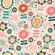 Seamless color pattern with flowers - Vektorgrafik